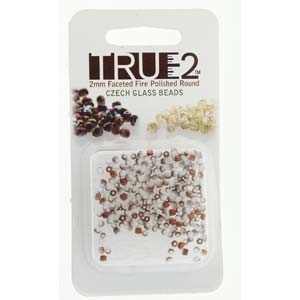 FPR0203000-27237-R - Fire Polish True 2mm Beads -  Chalk White Sunset Matte - Approx 2 Grams - 200 Beads Factory Pack