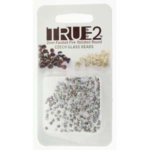 FPR0203000-28171-R - Fire Polish True 2mm Beads -  Chalk White Vitrail Matte - Approx 2 Grams - 200 Beads Factory Pack