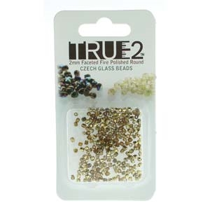 FPR0210060-26441-R - Fire Polish True 2mm Beads -  Topaz/Amber-Approx 2 Grams - 200 Beads Factory Pack