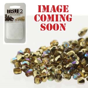 FPR0210060-98536-R - Fire Polish True 2mm Beads -  Topaz/Gold Rainbow-Approx 2 Grams - 200 Beads Factory Pack