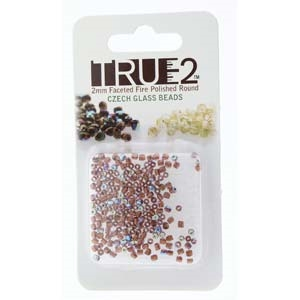 FPR0220030-68505-R - Fire Polish True 2mm Beads -  Light Amethyst AB COP LD Rainbow - Approx 2 Grams - 200 Beads Factory Pack