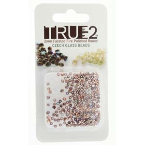 FPR0220030-98533-R - Fire Polish True 2mm Beads -  Light Amethyst Copper Rainbow - Approx 2 Grams - 200 Beads Factory Pack