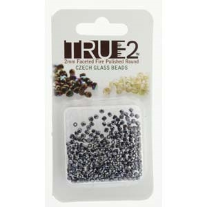 FPR0223980-14400-R - Fire Polish True 2mm Beads -  Jet Hematite - Approx 2 Grams - 200 Beads Factory Pack