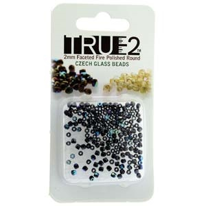 FPR0223980-14400AB-R - Fire Polish True 2mm Beads -  Jet - Hematite AB - Approx 2 Grams - 200 Beads Factory Pack