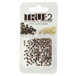 FPR0223980-14415-R - Fire Polish True 2mm Beads -  Jet Bronze - Approx 2 Grams - 200 Beads Factory Pack