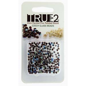FPR0223980-14415AB-R - Fire Polish True 2mm Beads -  Jet - Bronze AB - Approx 2 Grams - 200 Beads Factory Pack