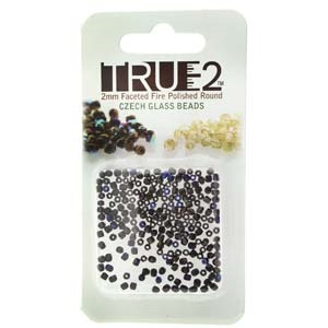 FPR0223980-22201-R - Fire Polish True 2mm Beads -  Jet Azuro - Approx 2 Grams - 200 Beads Factory Pack