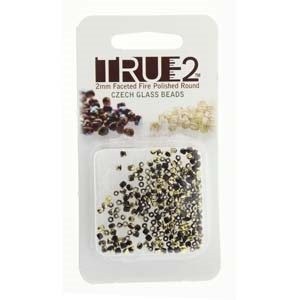 FPR0223980-26441-R - Fire Polish True 2mm Beads -  Jet Amber - Approx 2 Grams - 200 Beads Factory Pack