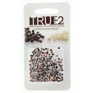 FPR0223980-27101-R - Fire Polish True 2mm Beads -  Jet Capri Gold - Approx 2 Grams - 200 Beads Factory Pack