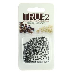 FPR0223980-27200-R - Fire Polish True 2mm Beads -  Jet Full Chrome - Approx 2 Grams - 200 Beads Factory Pack