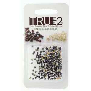 FPR0223980-28001-R - Fire Polish True 2mm Beads -  Jet Marea - Approx 2 Grams - 200 Beads Factory Pack