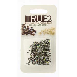 FPR0223980-28101-R - Fire Polish True 2mm Beads -  Jet Vitrail - Approx 2 Grams - 200 Beads Factory Pack