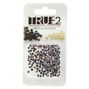 FPR0223980-29500-R - Fire Polish True 2mm Beads -  Jet Sliperit - Approx 2 Grams - 200 Beads Factory Pack