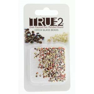 FPR0223980-98542-R - Fire Polish True 2mm Beads -  Jet California Gold Rush - Approx 2 Grams - 200 Beads Factory Pack