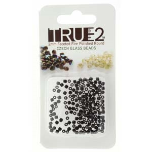 FPR0223980-R - Fire Polish True 2mm Beads -  Jet - Approx 2 Grams - 200 Beads Factory Pack