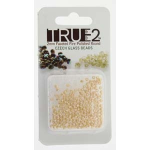 FPR0225039-R - Fire Polish True 2mm Beads -  Pastel Cream - Approx 2 Grams - 200 Beads Factory Pack