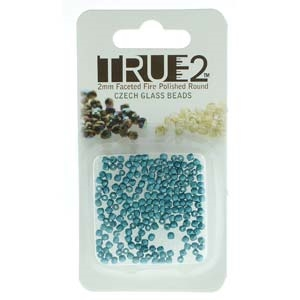 FPR0225043-R - Fire Polish True 2mm Beads -  Pastel Emerald - Approx 2 Grams - 200 Beads Factory Pack