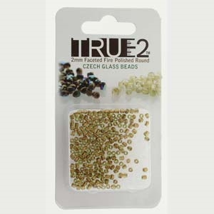 FPR0250230-68105-R - Fire Polish True 2mm Beads -  Olive Copper Lined - Approx 2 Grams - 200 Beads Factory Pack
