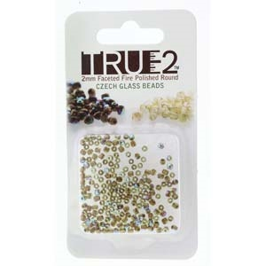 FPR0250230-68505-R - Fire Polish True 2mm Beads -  Olive AB Copper Lined - Approx 2 Grams - 200 Beads Factory Pack