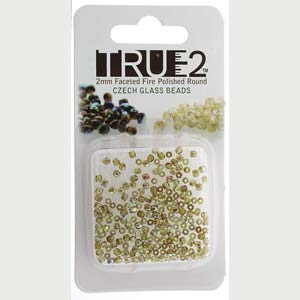 FPR0250230-98532-R - Fire Polish True 2mm Beads -  Olive Brown Rainbow - Approx 2 Grams - 200 Beads Factory Pack