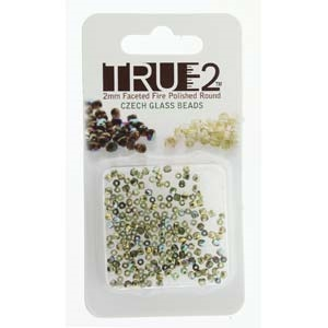 FPR0250230-98536-R - Fire Polish True 2mm Beads -  Olive Gold Rainbow - Approx 2 Grams - 200 Beads Factory Pack