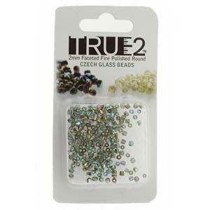 FPR0260020-98535-R - Fire Polish True 2mm Beads -  Aqua Orange Rainbow - Approx 2 Grams - 200 Beads Factory Pack