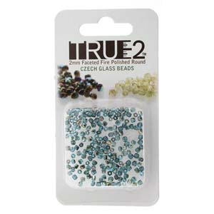 FPR0260020-98537-R - Fire Polish True 2mm Beads -  Aqua Graphite Rainbow - Approx 2 Grams - 200 Beads Factory Pack