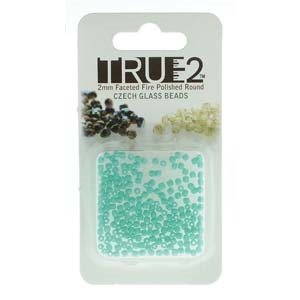 FPR0263130-R - Fire Polish True 2mm Beads -  Green Turquoise Opaque-Approx 2 Grams - 200 Beads Factory Pack