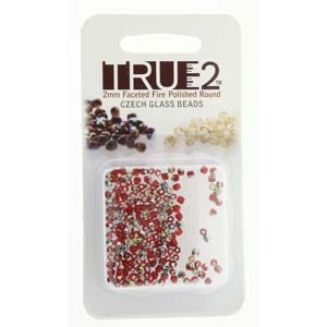 FPR0290080-28101-R - Fire Polish True 2mm Beads -  Siam Vitrail - Approx 2 Grams - 200 Beads Factory Pack