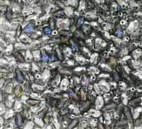 Firepolish Tear Drop 7/5mm:  FPTD-29601 - Silver/Blue/Purple - 2 Beads