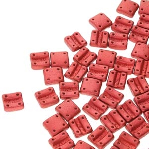 FXRV8703000-01890 - Fixer Beads with Vertical Holes - Chalk Lava Red - 10 Count