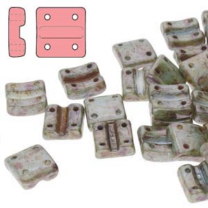 FXRV8703000-65431 - Fixer Beads with Vertical Holes - Chalk Blue Glaze - 10 Count