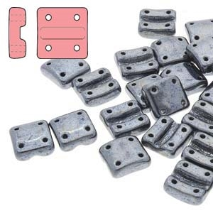 FXRV8723980-14400 - Fixer Beads with Vertical Holes - Jet Hematite - 10 Count