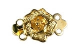 Gold Plated Brass Rose 2 Strand Rose Clasp 9MM