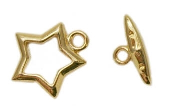 Gold Plated Brass Star Toggle Clasp 15x15mm