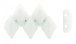 GemDuo-0300 - GemDuo 2-Hole Beads - 5x8mm - Opaque White (8 Grams - Approx. 55 pcs)