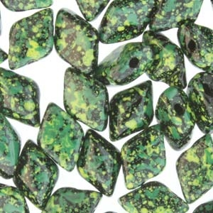 GemDuo-24405 - GemDuo 2-Hole Beads - 5x8mm - Jet Green Confetti (8 Grams - Approx. 55 pcs)