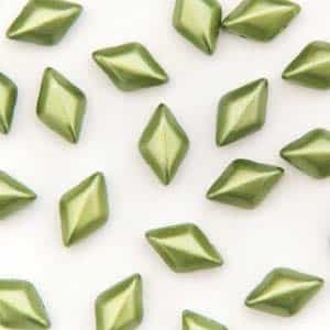 GemDuo-25034 - GemDuo 2-Hole Beads - 5x8mm - Pastel Olivine (approx 55 pcs)