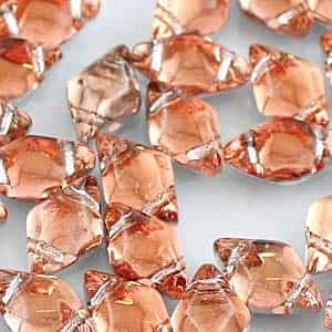 GemDuo-27102 - GemDuo 2-Hole Beads - 5x8mm - Backlit Peach (approx 55 pcs)