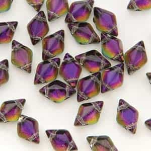 GemDuo-29532 - GemDuo 2-Hole Beads - 5x8mm - Backlit Purple Haze (approx 55 pcs)