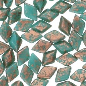 GemDuo-CS6313 - GemDuo 2-Hole Beads - 5x8mm - Copper Splash Green Turquoise (8 Grams - Approx. 55 pcs)