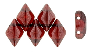 GemDuo-E9008 - GemDuo 2-Hole Beads - 5x8mm - Siam Ruby - Vega (approx 55 pcs)