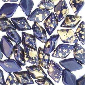 GemDuo-GS3305 - GemDuo 2-Hole Beads - 5x8mm - Gold Splash Royal Opaque Blue (8 Grams - Approx. 55 pcs)