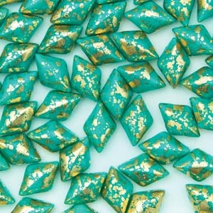 GemDuo-GS6313 - GemDuo 2-Hole Beads - 5x8mm - Gold Splash Green Turquoise (8 Grams - Approx. 55 pcs)