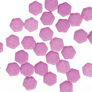 Czech 2-Hole 6mm Honeycomb Beads - HC-02010-29561HC - Silk Laser Pink Core - 25 Count
