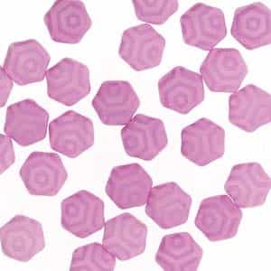 Czech 2-Hole 6mm Honeycomb Beads - HC-02010-29561WB - Silk Laser Pink Web - 25 Count
