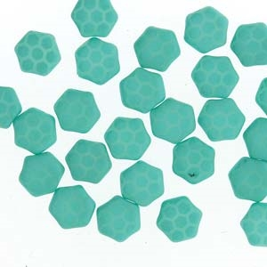 Czech 2-Hole 6mm Honeycomb Beads - HC-02010-29569HC - Silk Laser Turquoise Core - 25 Count