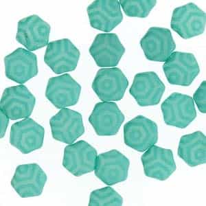 Czech 2-Hole 6mm Honeycomb Beads - HC-02010-29569WB - Silk Laser Turquoise Web - 25 Count