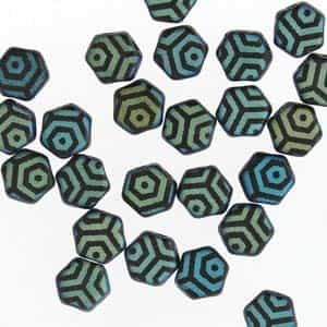 Czech 2-Hole 6mm Honeycomb Beads - HC-23980-28773WB - Matte Jet Laser Web AB - 25 Count