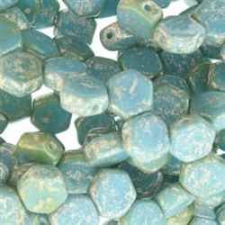 Czech 2-Hole 6mm Honeycomb Beads - HC-63030-15481 - Silver Splash Blue Turquoise - 25 Count